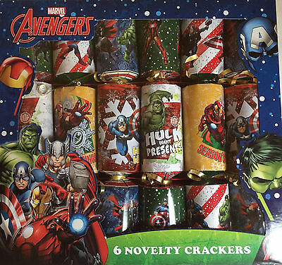 6 x 30CM MARVEL AVENGERS CHRISTMAS CRACKERS DINNER TABLE PARTY DECORATIONS 0361A
