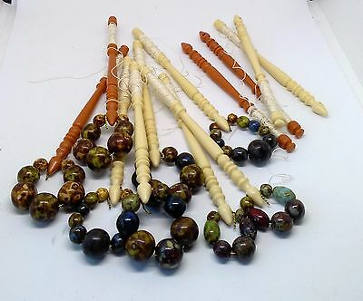 A set of 6 pairs of plastic lace bobbins, four pairs with spangles