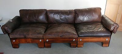 Retrotastic: 1970s Rosewood Frame Brown Leather 3 Seater Sofa Pirelli Supports