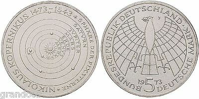 Niccolo' Copernico 5 Mark 1973 J Germania Moneta Argento Proof