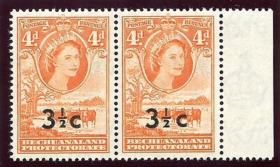 Bechuanaland  1961 QEII 3½c on 4d red-orange superb MNH. SG 161, 161a.