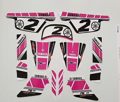 Kit Deco Rose GIRLY pour mini moto cross  YAMAHA PW 50 Piwi Qualité Standard