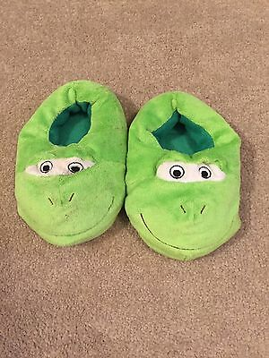Kids Green Monster Slippers Size 10