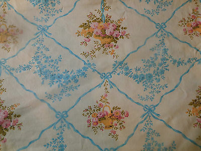 Vintage French Cottage Roses Baskets Garland Cotton Fabric ~ Blue Yellow Pink