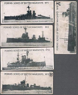 1910's Perrin's Series of British Warships Trading Cards Near Set of 5/6