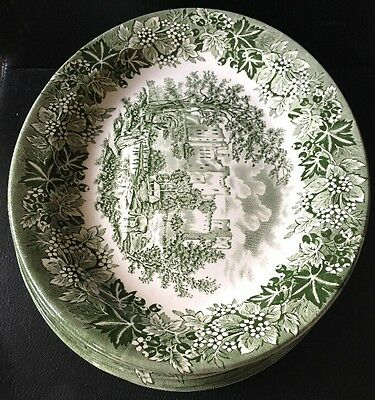 6x Castles Oval Serving Plates Green and White