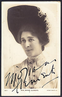Postcard Miriam Clements Edwardian English Stage Actress 1905 Signed Autograph