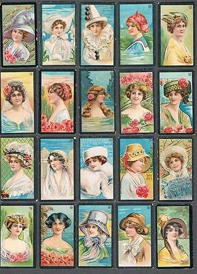 1912 ITC C94 Beauties Black Border Numbered Tobacco Cards Complete Set of 50