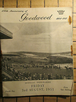 150th ANNIVERSARY OF GOODWOOD. OFFICIAL PROGRAM 3rd.AUGUST 1951