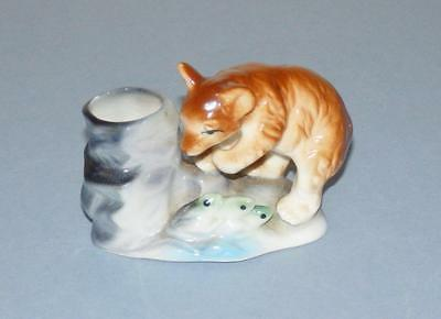 A Little Brown Bear Cub Fishing - Bone China Figurine