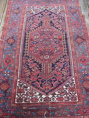 Antique Persian Rug-''shabby Chic'' Mahal, Heavy Wear On Edges; 4'3''x6'3''.