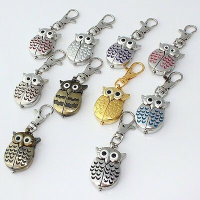 10pcs Mixed Colorful OWLS Pendant Pocket Key Ring Chain Quartz Watches GL03KT