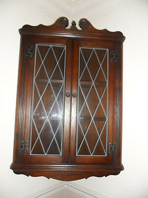 Vgc Old Charm Oak Wall Corner Cabinet Display Unit 2 Shelves Leaded Collect Wv6