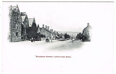 Early Un-Divided Back Postcard - Broadway Street & Lygon Arms - Worcestershire