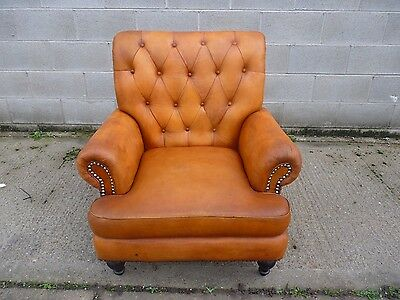 Slight Second Wallace Sacks Story Tan Real Leather Chesterfield Armchair