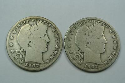1907-O & 1907-D Barber Half Dollars, Good Condition - C2155