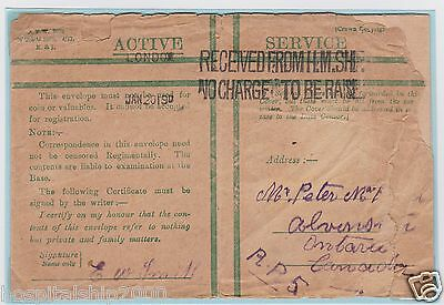 ENVELOPE + LETTER CANADIAN SOLDIER in HOSPITAL SHIP CARISBROOK CASTLE to ONTARIO