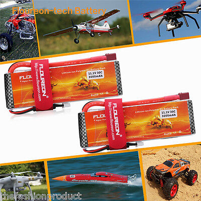 2x 4500mAh 11.1V 3S 30C Lipo RC Battery Deans for RC Helicopter Airplane Car
