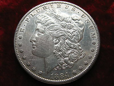 1884-S Morgan Silver Dollar, ALMOST UNCIRCULATED! SCARCE DATE Coin!