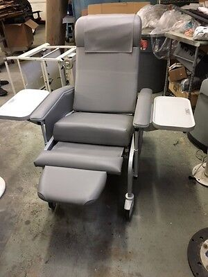 Winco 6550 Recliner With Side Trays Drop Arms Gray Upholstery New