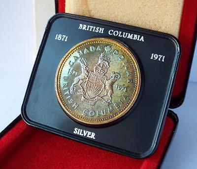 NICE CANADA 1971 SILVER PROOF DOLLAR BRITISH COLUMBIA 100th ANNIVERSARY CASED