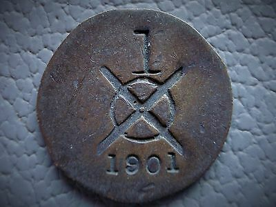 UNKNOWN - Token , Check , Tally??? . Crossed circle & No.1 , No. or Date 1901