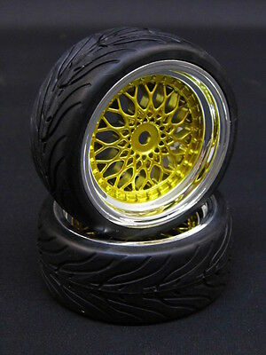 2Er Pacco Ruote Complete 1:10 Bbs Vintage In Cromo / Oro Con 3Mm Offset # Kvin3
