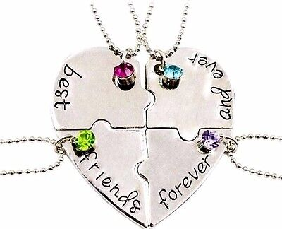 4 part best friends forever and ever necklace Christmas gifts sister cousin x