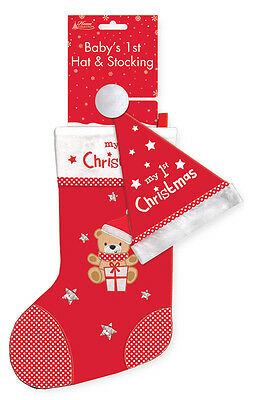 Baby's First Christmas Stocking + Hat Presents Novelty Clothes Childrens Gifts