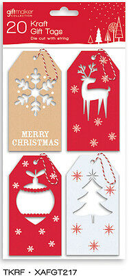 20 x Kraft Assorted Christmas Gift Tags Die Cut Includes String Wrapping Unique