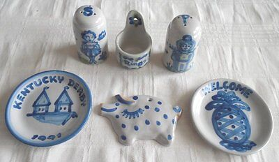Lot 6 M A Hadley Pottery Salt & Pepper/Ring Holder/Wall Pig Plaque 2 Mini Plates