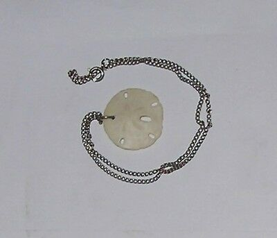 """Miniature Real Sand Dollar Charm Nice Design 13"""" Chain Silver Necklace Pendant"""