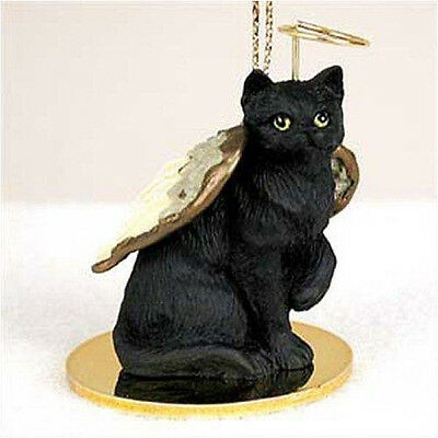 BLACK Shorthair ANGEL CAT Tiny One Ornament Figurine Statue