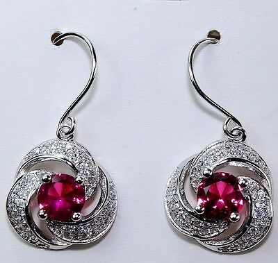 2CT Ruby & White Topaz 925 Solid Genuine Sterling Silver Earrings
