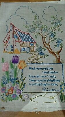 """vintage hand embroidered linen cottage picture """"what more could the heart desire"""