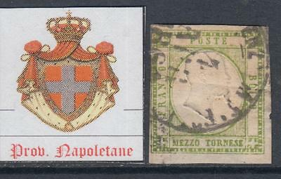 ITALY - NAPOLI 1861 - 1/2 t n.17 used - light yellow green - PROVINCE NAPOLETANE
