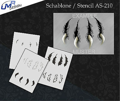 Step by Step Airbrush Stencil AS-210 M ~ Template ~ UMR-Design