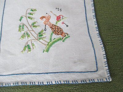 Vintage Tablecloth Hand Embroidered -Sports Figures
