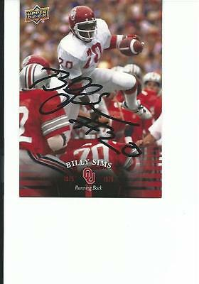 Billy   Sims   Ou        Autographed    Card