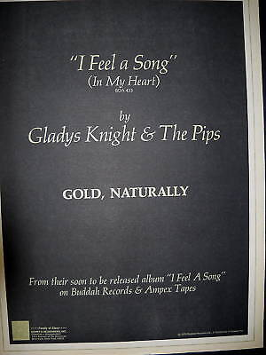 GLADYS KNIGHT Gold Naturally 1974 PROMO POSTER AD mint