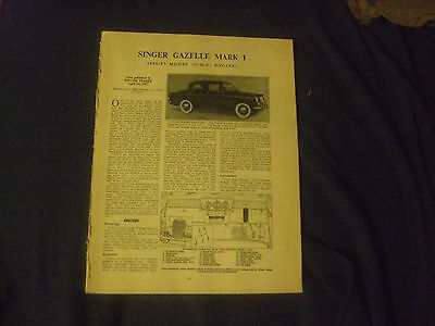 Singer Gazelle Mark I 1956-57 Model (OHC Engine) Service Guide