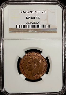 Great Britain 1/2 Penny 1944 NGC MS 64 RB UNC Bronze