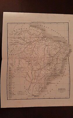1852 antique French Map of BRAZIL