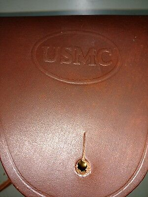 U.S. WWII M1911 .45cal Brown Leather Hip Holster Embossed USMC - Outstanding