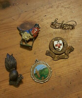 small collection of vintage items brooch enamel Red Cross medal