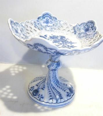 """Antique Blue Onion 9"""" Reticulated Compote Steingutfabrik Thomsberger & Hermann"""
