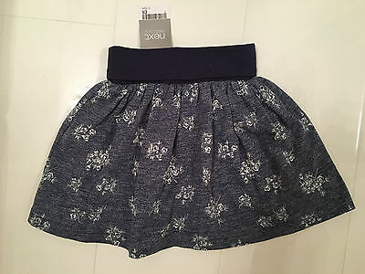 New Next Blue & Navy Jersey Cotton Skater Style Skirt With Elastic Waistband 2-3