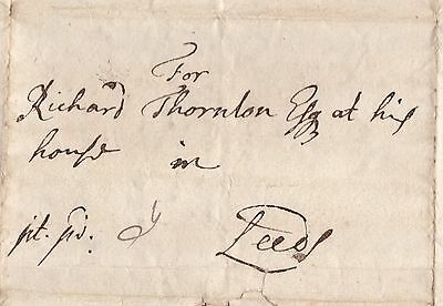 1701 York Pre-Stamp Letter 'post Paid' To Richard Thornton In Leeds Yorkshire