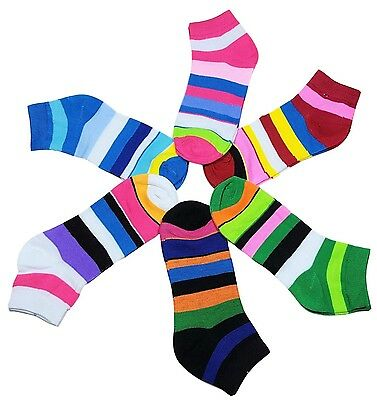 6-12 Pairs Women's Ankle Socks Cotton Ladies Striped Girls Colors Size 9-11