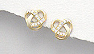 Yellow Gold Over 1.4g Solid Sterling Silver Celtic Twist CZ Earrings Vermeil